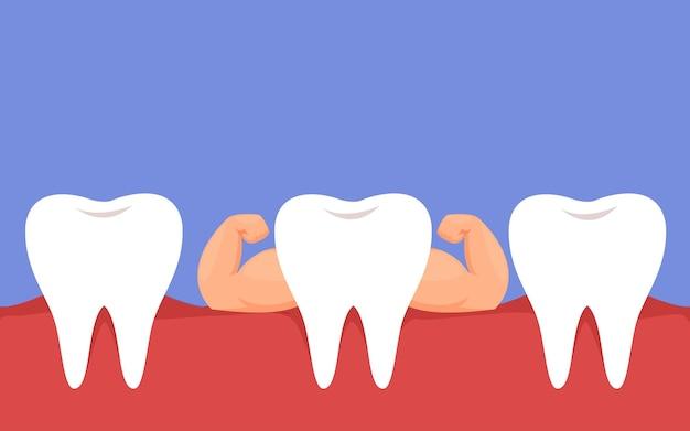 Gezonde sterke witte tanden het concept van gezonde goede mondverzorging tandheelkunde en cariës