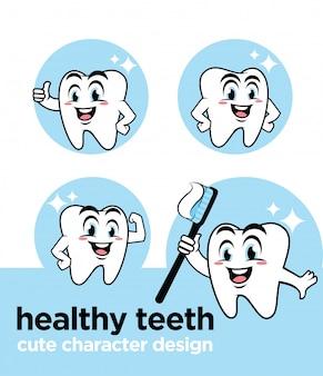 Gezonde tanden met schattig karakter