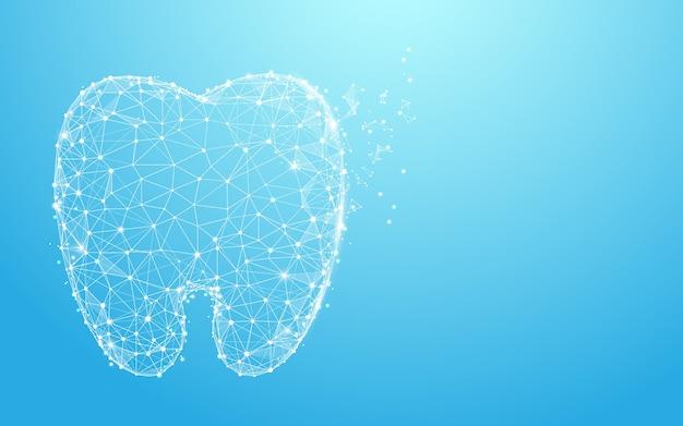 Gezonde tanden vormen lijnen en ontwerp van de deeltjesstijl