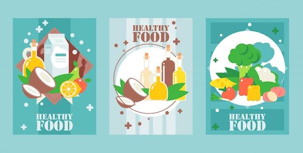 Gezonde voeding banners vlakke stijl voor voedselverpakking dekking supermarkt posters website banners