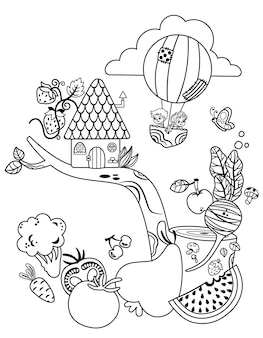 Gezonde voeding en kinderen zwart-wit vectorillustratie clipart