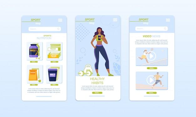 Gezonde voeding, fitness, sport, dieet mobiele app set