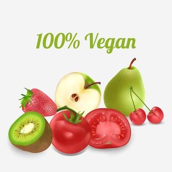 Gezonde voeding groenten en fruit geïsoleerd op een witte achtergrond vooraanzicht kopieer de ruimte