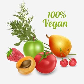 Gezonde voeding groenten en fruit geïsoleerd op een witte achtergrond vooraanzicht