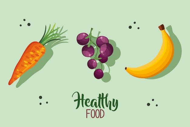 Gezonde voeding illustratie met wortel en fruit