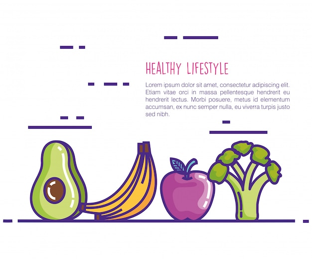 Gezonde voeding levensstijl pictogrammen