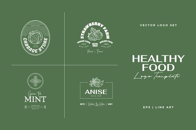 Gezonde voeding logo sjabloon handgetekende illustraties voor voor restaurant