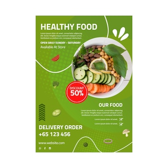 Gezonde voeding poster sjabloon met foto