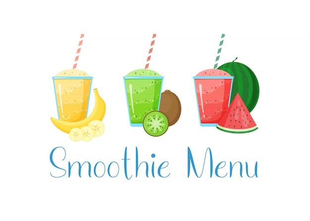 Gezonde voeding rauw fruit smoothie drankje collectie