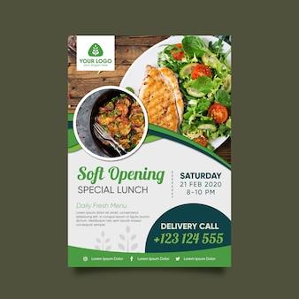 Gezonde voeding restaurant flyer sjabloon