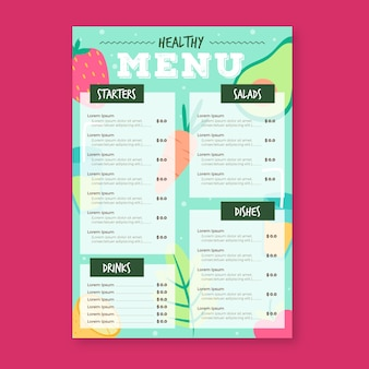 Gezonde voeding restaurant menusjabloon