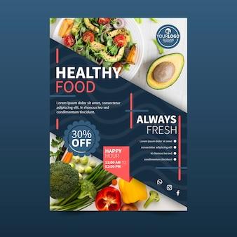 Gezonde voeding restaurant poster ontwerpstijl