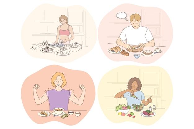 Gezonde voeding, schoon eten, dieet, gewichtsverlies, voeding, ingrediëntenconcept. jonge positieve mensen