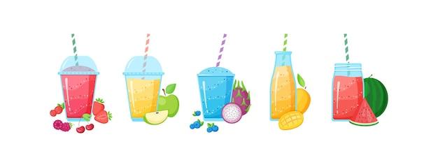 Gezonde voeding smoothie drankje instellen afbeelding. glas en fles met stro en gelaagde verse cocktail in regenboogkleuren met verzameling van rauw fruit smoothie
