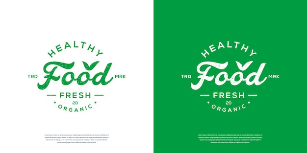 Gezonde voeding typografie logo of retro vintage label