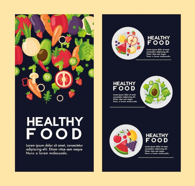 Gezonde voeding verse flyer set