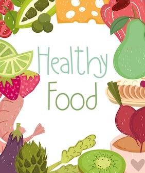 Gezonde voeding voeding sterven met groenten fruit illustratie