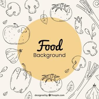 Gezonde voedselachtergrond met hand getrokken stijl
