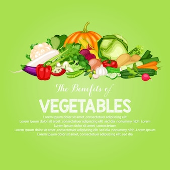 Gezonde voedselbanner die met vlak ontwerp van groenten wordt geplaatst