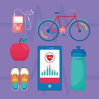 Gezondheid app zes pictogrammen