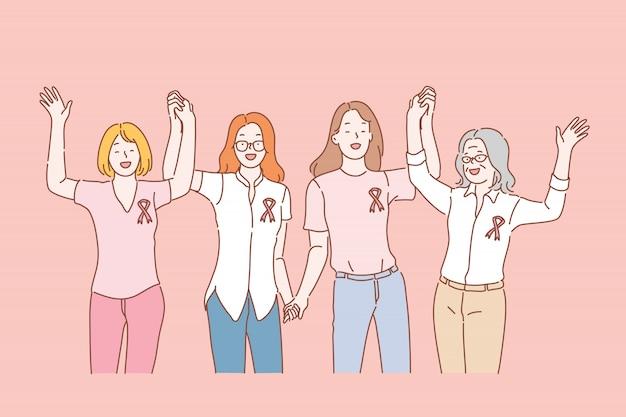 Gezondheid, borstkanker bewustzijn lint concept