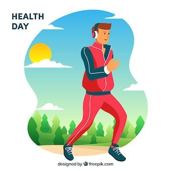 Gezondheid dag achtergrond met runner in hand getrokken stijl