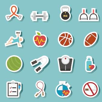 Gezondheid en fitness pictogrammen