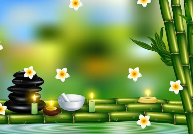 Gezondheid en schoonheidssjabloon met natural spa cosmetica producten