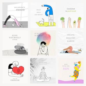 Gezondheid en welzijn sjablonen vector kleurrijke en schattige illustraties set
