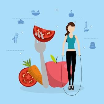 Gezondheid fitness cartoon