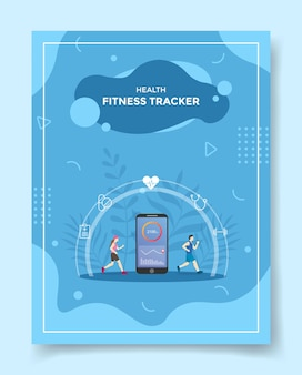Gezondheid fitness tracker voor sjabloon van flyer