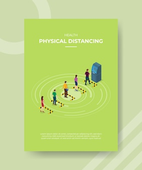 Gezondheid fysieke afstand mensen wachtlijn waarschuwingslijn front atm-machine
