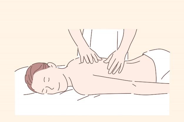 Gezondheid, massage, spabehandeling, ontspannen concept.