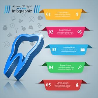 Gezondheid, medische, tandheelkundige infographic sjabloon
