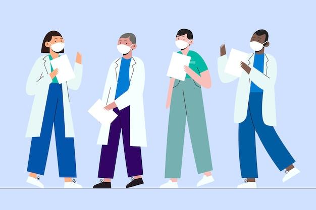 Gezondheid professioneel team dat maskers draagt