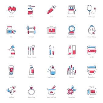 Gezondheid, schoonheid, spa pictogrammen pack