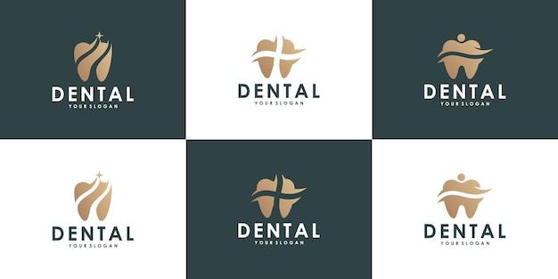 Gezondheid tandheelkundige logo-ontwerpcollectie