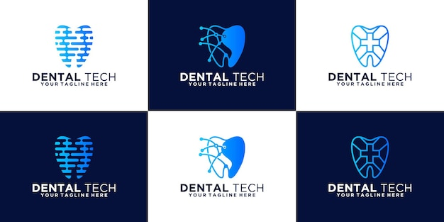 Gezondheid tandheelkundige logo-ontwerpinspiratie, digitale tanden en technologie