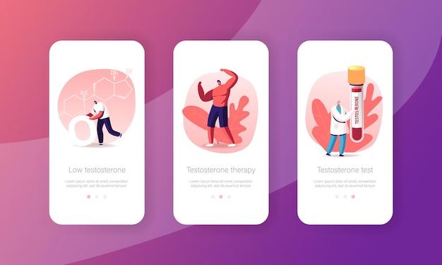 Gezondheid van mannen, testosterontherapie mobiele app-pagina onboard-schermsjabloon