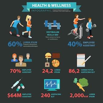 Gezondheid wellness vlakke stijl thematische sport infographics concept