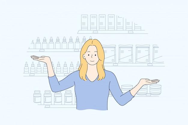 Gezondheid, zorg, geneeskunde, presentatie, reclame, apotheek concept