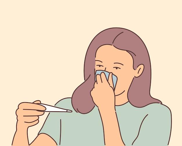 Gezondheid, zorgconcept. triest ziek ziek wman meisje stripfiguur controleert de temperatuur.