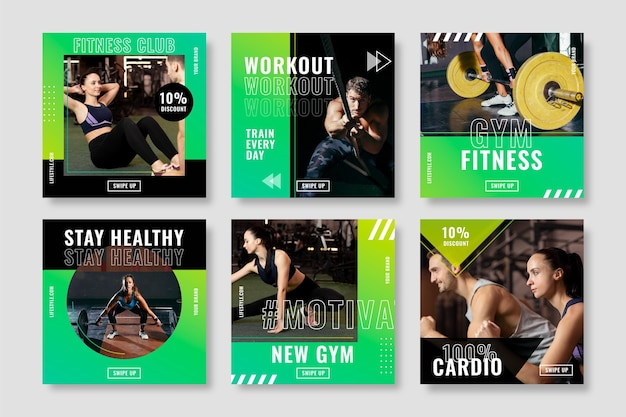 Gezondheids- en fitnesspostverzameling met foto