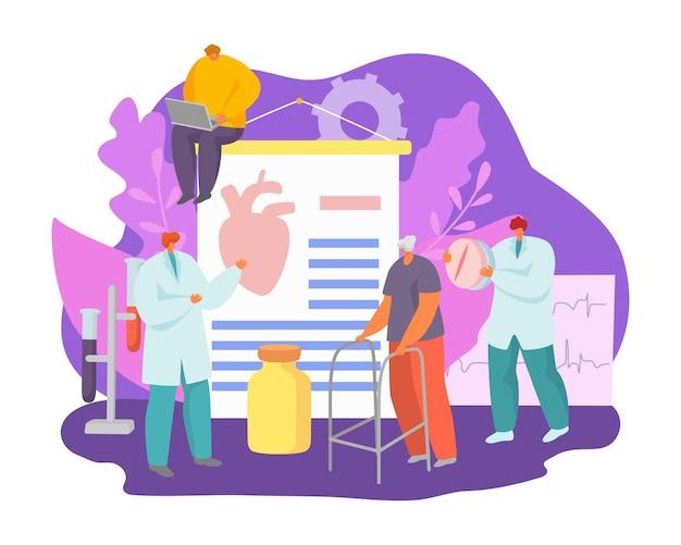 Gezondheidsbehandeling, arts zorg over hartaanval van de patiënt met geneeskunde concept