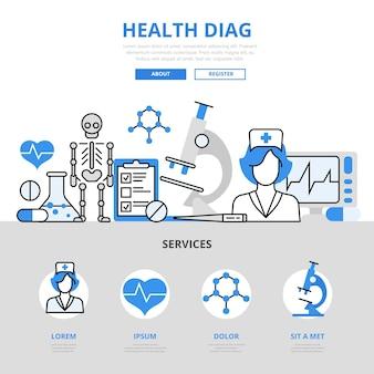 Gezondheidscontrole medische diagnostiek laboratorium lab test ziekenhuis dienstverleningsconcept platte lijnstijl.
