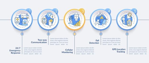 Gezondheidscontrole smartwatch infographic sjabloon