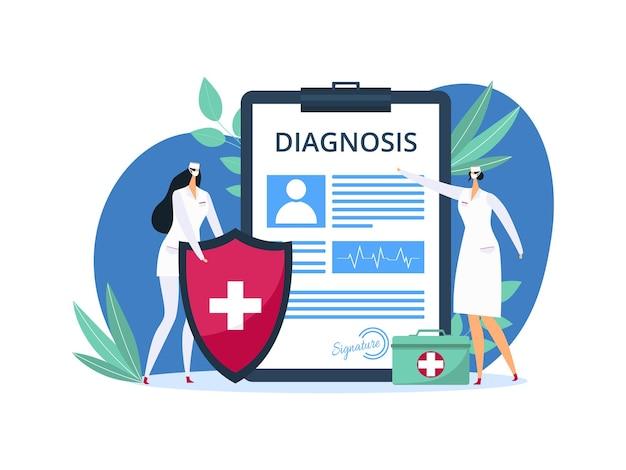 Gezondheidsdiagnoseformulier voor medische zorg, vectorillustratie. vrouw arts karakter staat in de buurt van medicijndocument over zieke patiënt. ziekenhuisreceptformulier met plat klinieksymbool.