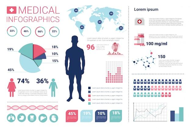 Gezondheidsgeneeskunde infographics informatiebanner met exemplaarruimte