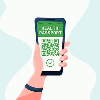 Gezondheidspaspoort ?oncept of covid19 vaccinatiepaspoort. hand en smartphone. platte vectorillustratie. reizen tijdens een pandemie.