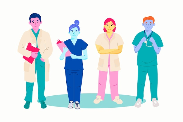 Gezondheidsprofessionele collectie met artsen en verpleegkundigen